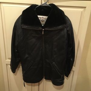 Vintage 80s 90s lambskin leather bomber jacket s